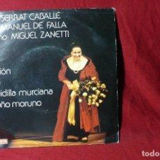 Discos de vinilo: MONSERRAT CABALLE / JOTA / NANA / SEGUIDILLA MURCIANA / EL PAÑO MORUNO / VERGARA 0037 / 1975.. Lote 86701768