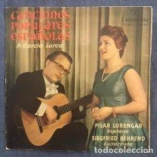 Discos de vinilo: PILAR LORENGAR - CANCIONES POPULARES DE FEDERICO GARCÍA LORCA - 1960. Lote 86718792
