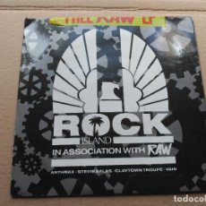 Discos de vinilo: EP PROMO VARIOUS - ROCK ISLAND IN ASSOCIATION WITH RAW - UK 1990 VG+. Lote 86730812