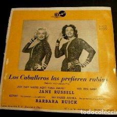 Discos de vinilo: LOS CABALLEROS LAS PREFIEREN RUBIAS MARILYN MONROE (EP. AÑOS 50) JANE RUSSELL, B. RUICK (RARO) JAZZ. Lote 87000364