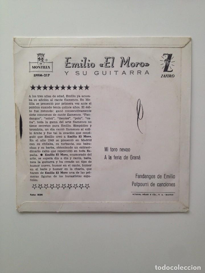 Discos de vinilo: EMILIO EL MORO : y su guitara/MI TORO NEVAO+3/ZAFIRO - Foto 2 - 87065736
