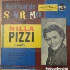 Discos de vinilo: NILLA PIZZI, FESTIVAL DE SAN REMO 1958, CANTA: FRAGOLE E CAPELLINI + 3 TEMAS - EP RCA SPAIN 1958 . Lote 87122792