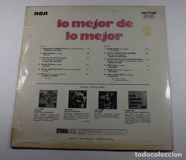 Discos de vinilo: LP LO MEJOR DE LO MEJOR VOL 2, MICKY, JUNIOR, SWEET, BARRABAS, DO BARRO, DI BARI, MIDDLE OF THE ROAD - Foto 2 - 87155256