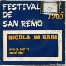 Discos de vinilo: NICOLA DI BARI – FESTIVAL DE SAN REMO 1965 - SG SPAIN 1965 - ZAFIRO 00-92. Lote 87215744