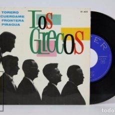 Discos de vinilo: DISCO EP DE VINILO - LOS GRECOS. EL TORERO / LA PIRAGUA - BELTER, 1965. Lote 87229180