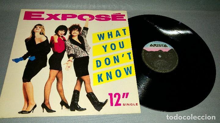1018- EXPOSE-WHAT YOU DONT KNOW MAXI-SINGLE 12 PORTADA VG +/++ / DISCO VG + (Música - Discos - Singles Vinilo - Otros estilos)