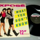 Discos de vinilo: 1018- EXPOSE-WHAT YOU DONT KNOW MAXI-SINGLE 12 PORTADA VG +/++ / DISCO VG +. Lote 87254608