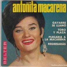 Discos de vinilo: ANTOÑITA MACARENA / PLEGARIA A LA MACARENA + 3 (EP 1965). Lote 87285312