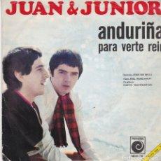 Discos de vinilo: SINGLE JUAN Y JUNIOR, ANDURIÑA. 1968. DISCO PROBADO Y BIEN, CARÁTULA BUEN PERO CON NOMBRE DETRÁS. Lote 87302496