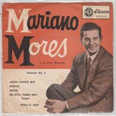 Discos de vinilo: MARIANO MORES / ADIOS PAMPA MIA + 3 (EP ARGENTINO). Lote 87365548