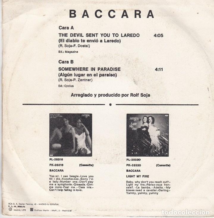 Discos de vinilo: single baccara. the devil sent you to laredo. 1978. disco probado y en estado normal - Foto 2 - 87376556