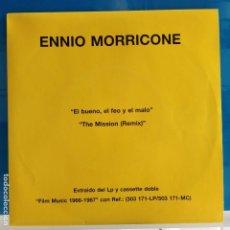 Discos de vinilo: ENNIO MORRICONE - EL BUENO EL FEO Y EL MALO / THE MISSION (REMIX) - NUEVO PROMO. Lote 87390604