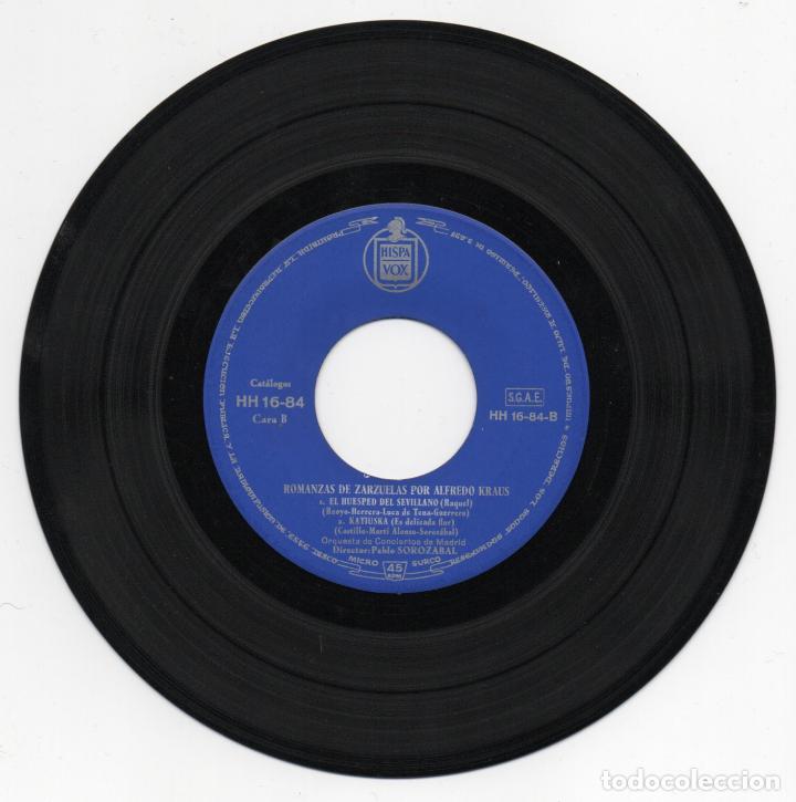 Discos de vinilo: DISCO EP 45 RPM - ALFREDO KRAUS - ROMANZAS (HISPAVOX HH 16-84) - Foto 2 - 87452664