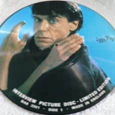 Discos de vinilo: IGGY POP. LP INTERVIEW PICTURE DISC. LIMITED EDITION. BAK 2061. MADE IN ENGLAND . Lote 88026516