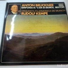 Discos de vinilo: BRUCKNER-SINFONIA 5 EN SI BEMOL MAYOR-FILARMONICA MUNICH-RUDOLF KEMPE-2 LP -EDIGSA-N. Lote 88429184