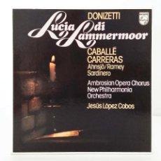 Discos de vinilo: DONIZETTI – LUCIA DI LAMMERMOOR – ESTUCHE CON 3 LP Y ENCARTE CON LETRAS – CABALLÉ, CARRERAS.... Lote 88667720