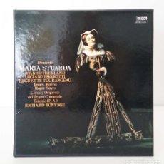 Discos de vinilo: DONIZETTI – MARIA STUARDA – ESTUCHE CON 3 LP Y ENCARTE CON LETRAS – JOAN SUTHERLAND, LUCIANO PAVAROT. Lote 88668276