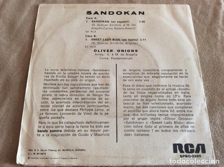 Discos de vinilo: OLIVER ONIONS. SANDOKAN / SWEET LADY BLUE. RCA 1976 - Foto 2 - 88892544