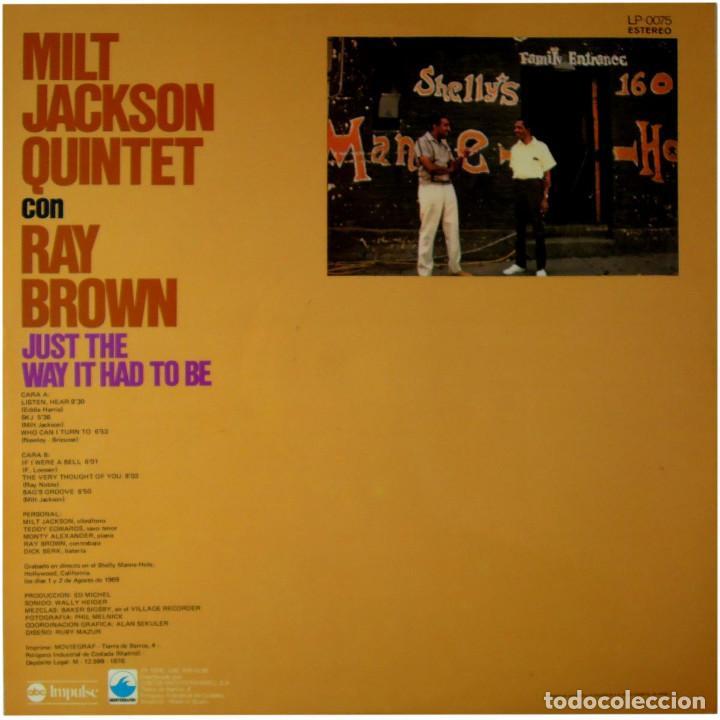 Discos de vinilo: Milt Jackson Quintet Con Ray Brown – Just The Way It Had To Be - Lp Spain 1976 - ABC Impulse! - Foto 2 - 89153796