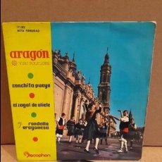 Discos de vinilo: CONCHITA PUEYO / EL ZAGAL DE OLIETE / RONDALLA ARAGONESA. ARAGÓN Y SI FOLKLORE / ***/***. Lote 89486264