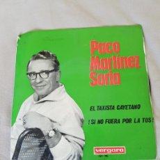 Discos de vinilo: PACO MARTÍNEZ SORIA. 1965. SINGLE. EL TAXISTA CAYETANO Y !SI NO FUERA POR LA TOS¡. Lote 89516962
