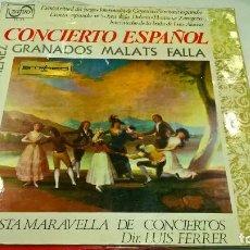 Discos de vinilo: MUSICA LP CONCIERTO ESPAÑOL GRANADOS FALLA ETC ORQUESTA MARAVELLA . Lote 89518992