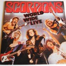 Discos de vinilo: SCORPIONS. 2 LP. WORLD WIDE LIVE. EDICIÓN ESPAÑOLA PROMOCIONAL. EMI HARVEST 1985 + HOJAS PROMO. Lote 89566524