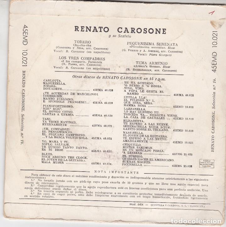 Discos de vinilo: SINGLE RENATO CAROSONE. torero. 1958. DISCO PROBADO Y BIEN - Foto 2 - 89614068