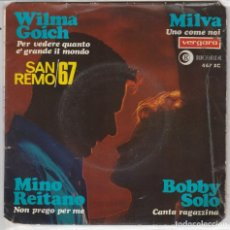 Discos de vinilo: FESTIVAL DE SAN REMO 1967 (VARIOS) WILMA GOICH - BOBBY SOLO - MILVA - MINO REITANO (EP 1967). Lote 89623860