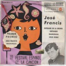 Discos de vinilo: JOSE FRANCIS / ENAMORADA (III FESTIVAL DE BENIDORM) CON COLGANTE PRIMER PREMIO (EP 1961). Lote 89627624