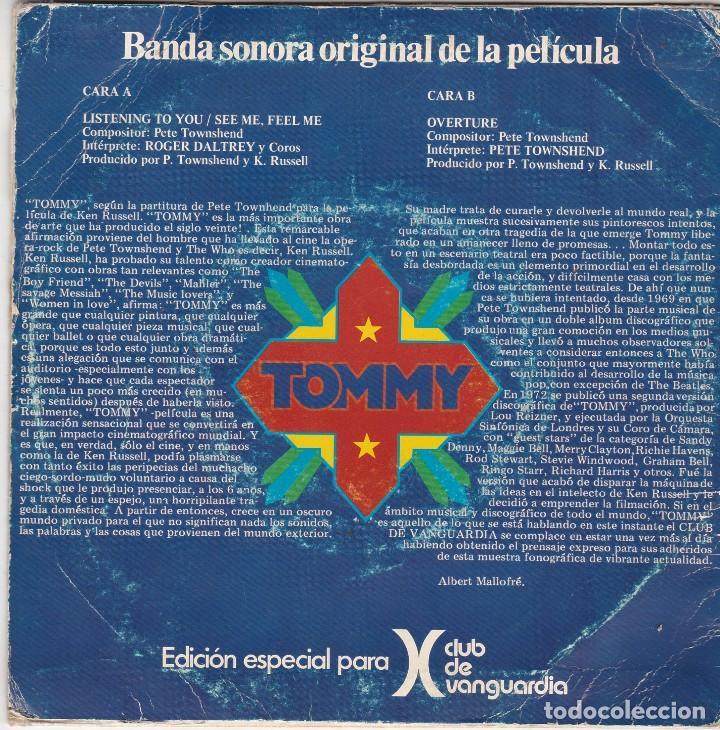 Discos de vinilo: SINGLE the who. tommy, 1975. SPAIN. DISCO PROBADO Y BIEN - Foto 2 - 89796448