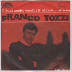 Discos de vinilo: FRANCO TOZZI / I TUOI OCCHI VERDU / E ALLORA VAI...(SINGLE PROMO 1965). Lote 90069704