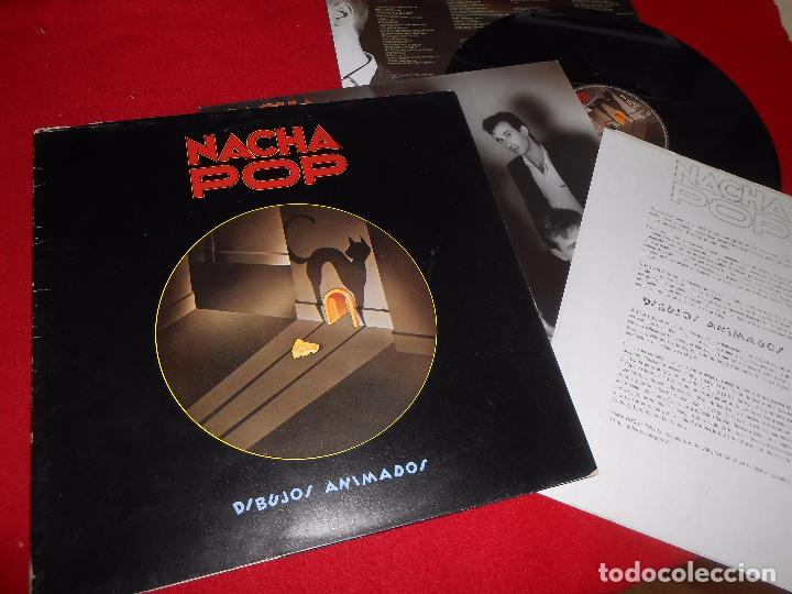 NACHA POP DIBUJOS ANIMADOS LP 1985 + FOLDER + HOJA PROMO PROMOCIONAL (Música - Discos - LP Vinilo - Grupos Españoles de los 70 y 80)