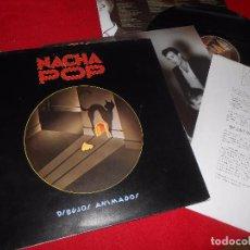 Discos de vinilo: NACHA POP DIBUJOS ANIMADOS LP 1985 + FOLDER + HOJA PROMO PROMOCIONAL. Lote 90083132