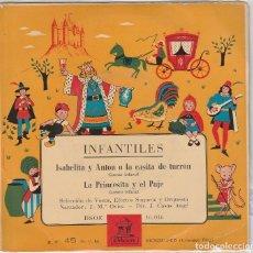 Discos de vinilo: INFANTILES (CUENTOS) / ISABELITA Y ANTON O LA CASITA DE TURRON / LA PRINCESITA Y EL PAJE (EP 1958). Lote 90110460