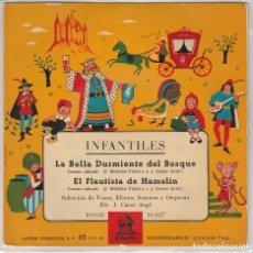Discos de vinilo: INFANTILES (CUENTOS) / LA BELLA DURMIENTE DEL BOSQUE / EL FLAUTISTA DE HAMELIN (EP 1958). Lote 90110600