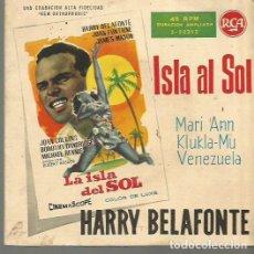 Discos de vinil: HARRY BELAFONTE BANDA SONORA DEL FILM LA ISLA AL SOL EP SELLO RCA AÑO 1959 EDITADO EN ESPAÑA. Lote 90352996