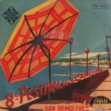 Discos de vinilo: 8º FESTIVAL DE LA CANCION - SAN REMO 1958 / EP TELEFUNKEN RF-2654. Lote 219688435