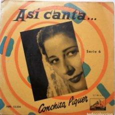 Discos de vinilo: CONCHITA PIQUER ''LA GUAPA, GUAPA'' AÑO 1959 VINILO DE 7'' ES UN EP. Lote 90572385