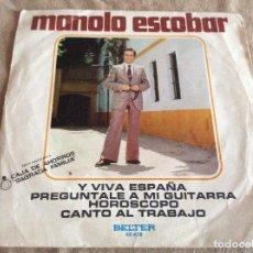 Discos de vinilo: MANOLO ESCOBAR. Y VIVA ESPAÑA, PREGUNTALE A MI GUITARRA, HOROSCOPO, CANTO AL TRABAJO 1973 BELTER. Lote 90860885