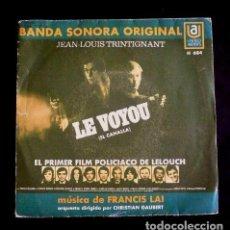 Discos de vinilo: LE VOYOU (SINGLE BSO 1971) FRANCIS LAI - BANDA SONORA ORIGINAL FILM EL CANALLA J.LOUIS TRINTIGNANT. Lote 90887085