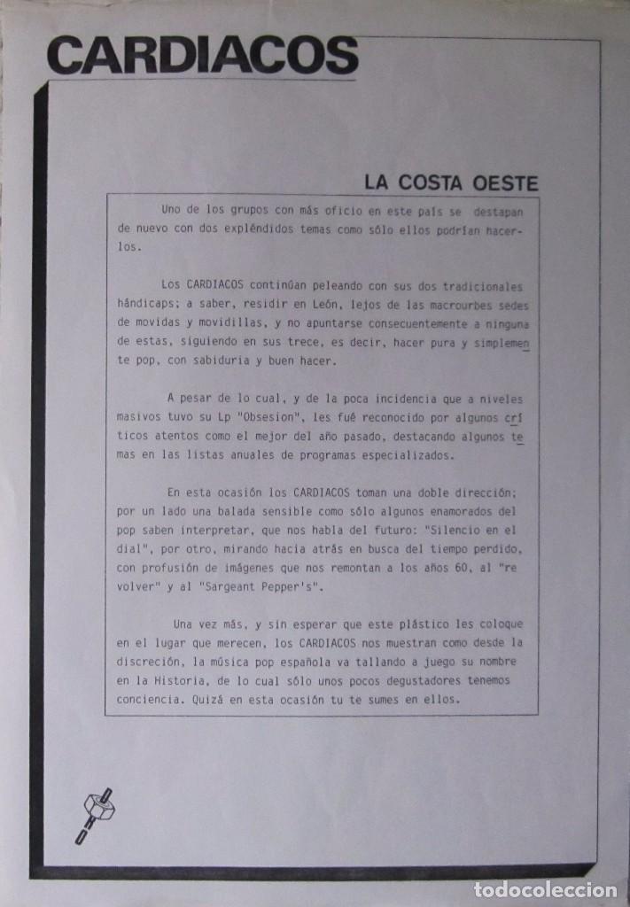 Discos de vinilo: CARDIACOS: LA COSTA OESTE / SILENCIO EN EL DIAL - Foto 3 - 90969830