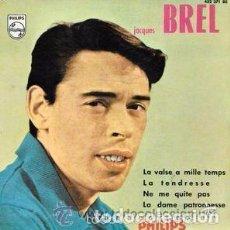 Discos de vinilo: JACQUES BREL, LA VALSE À MILLE TEMPS, EP FRANCE 1967. Lote 91058180