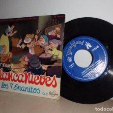 Discos de vinilo: BLANCANIEVES Y LOS 7 ENANITOS- VOL 2-DISNEYLAND- MADRID-AÑO 1962. Lote 91252455