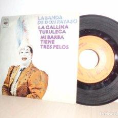 Discos de vinilo: LA BAND DE DON PAYASO -LA GALLINA TURULECA -MI BARBA TIENE TRES PELOS -CBS-MADRID 1973. Lote 91253625