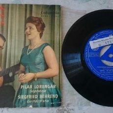 Discos de vinilo: PILAR LORENGAR. CANCIONES POPULARES ESPAÑOLAS: ZORONGO + 4 (COLUMBIA 1960). Lote 91773930