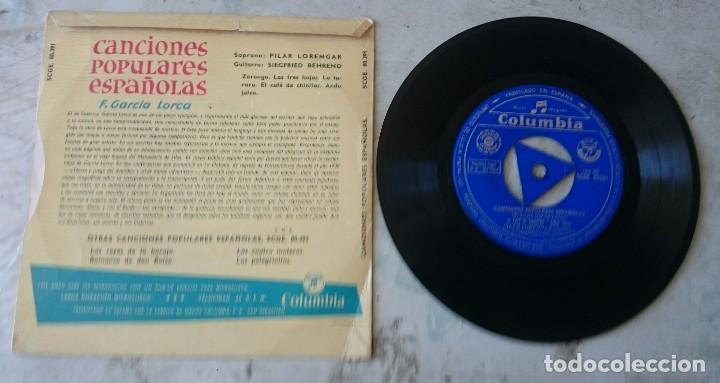 Discos de vinilo: Pilar Lorengar. Canciones populares españolas: Zorongo + 4 (Columbia 1960) - Foto 2 - 91773930