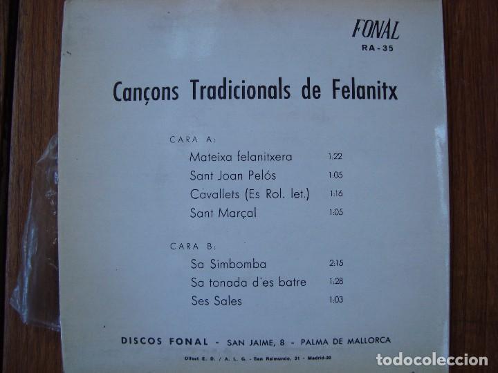 Discos de vinilo: CANÇONS TRADICIONALS DE FELANITX. DISCOS FONAL. PALMA DE MALLORCA. - Foto 3 - 91800525