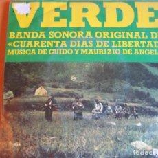Discos de vinilo: VERDE SG RCA 1974 BSO OST - CUARENTA DIAS DE LIBERTAD - MAURIZIO GUIDO ANGELIS. Lote 91861310