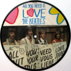 Discos de vinilo: THE BEATLES - ALL YOU NEED IS LOVE - PICTURE DISC SINGLE PARLOPHONE 1987 UK BPY. Lote 91886850